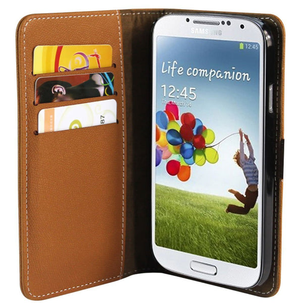 Wallet Case for Samsung Galaxy S4 - Brown
