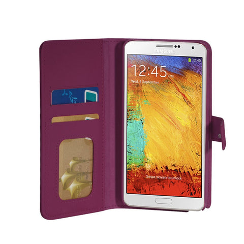 Executive Leather Wallet Case For Samsung Galaxy Note 3 - Purple