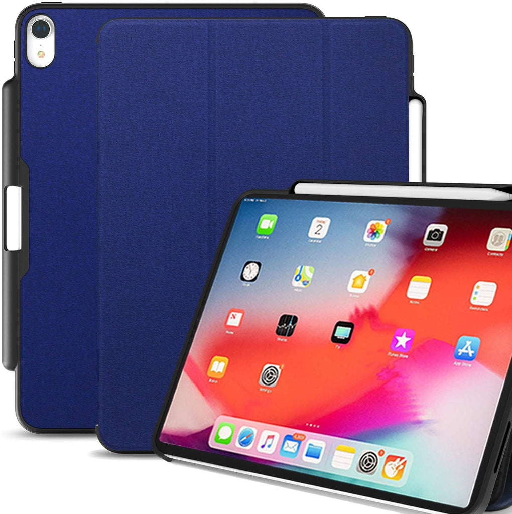 Dual Case Cover With Pen Holder For Apple iPad Pro 12.9 Inch 3rd Generation Super Slim Support Pencil Charging - Blue