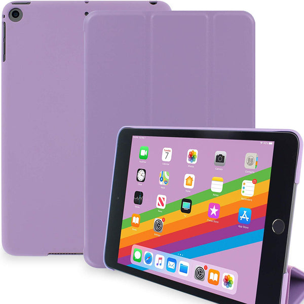 Dual Case For Apple iPad Mini 5 Super Slim Rubberized Back & Smart Feature - Purple
