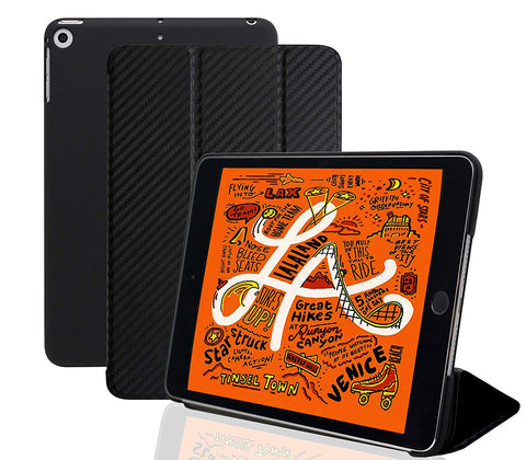 Dual Case For Apple iPad Mini 5 Super Slim Rubberized Back & Smart Feature - Carbon Fiber