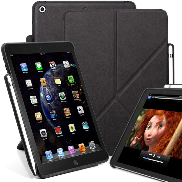 Dual Origami Case Cover For iPad 9.7 (2017 & 2018) With Pen Holder - Leather Black