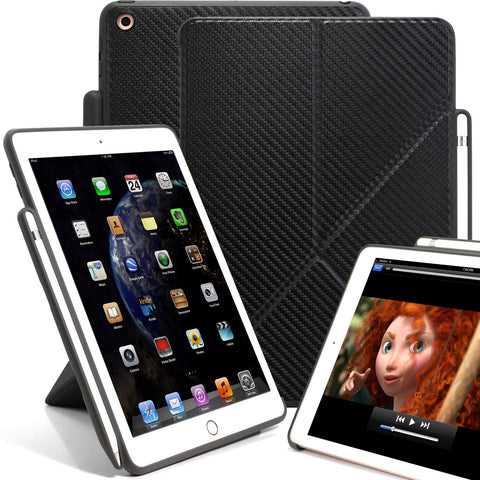 Dual Origami Case Cover For iPad 9.7 (2017 & 2018) With Pen Holder - Carbon Fiber