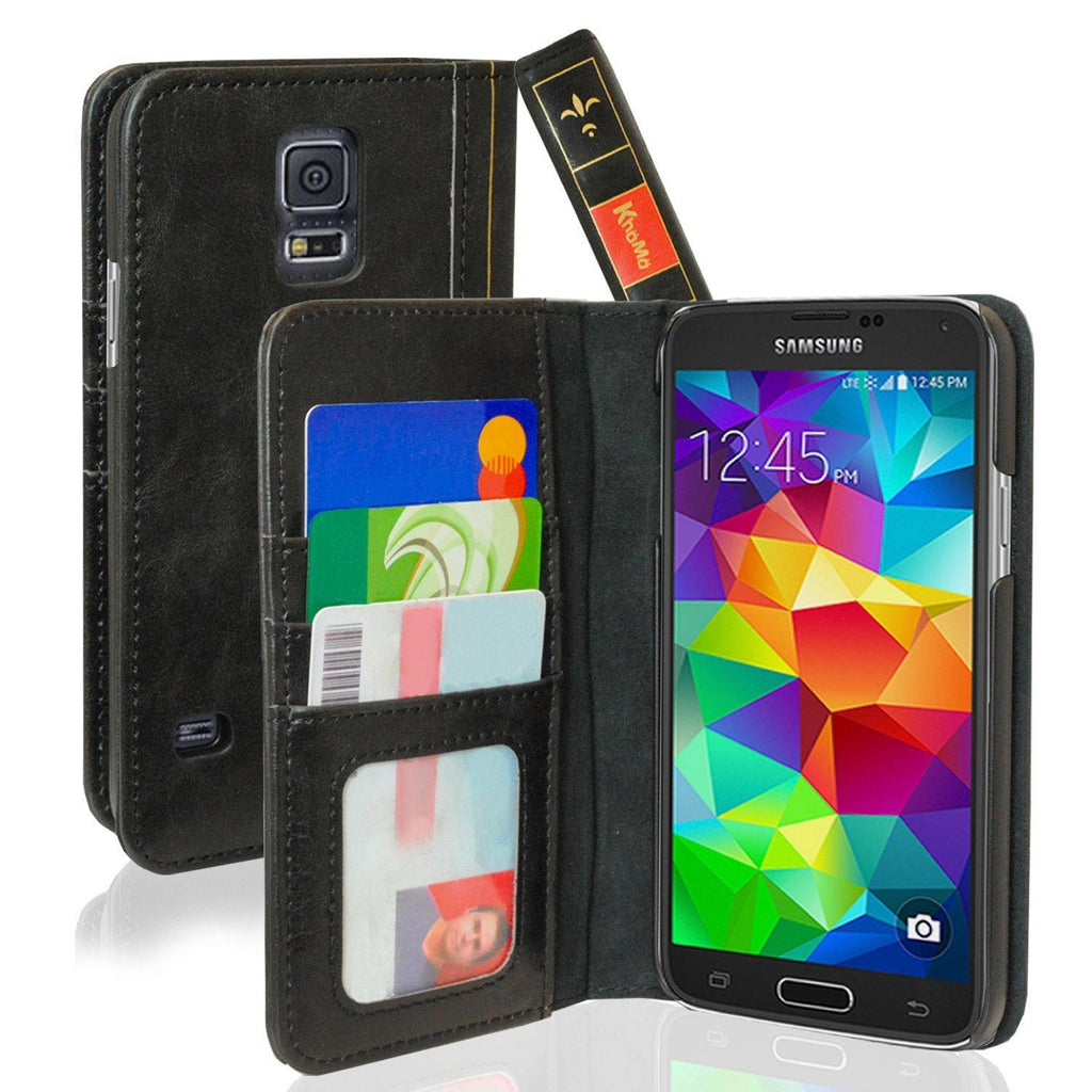 Book Style Leather Case For Samsung Galaxy S5 - Black