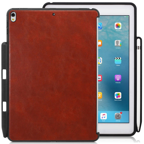 Companion Cover Case For Apple iPad Pro 10.5 Inch With Pen Holder Leather Brown