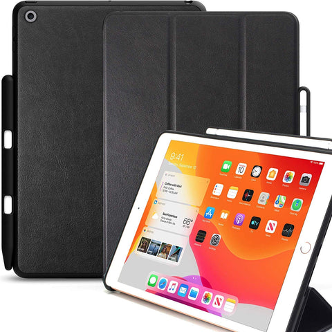 KHOMO iPad 10.2 2019 Case with Pencil Holder (7th Generation) - Dual Series - Cover - Leather Black