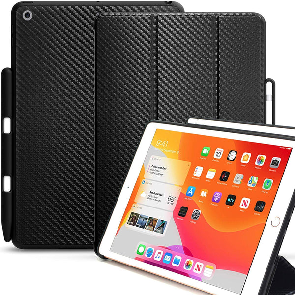 KHOMO iPad 10.2 2019 Case with Pencil Holder (7th Generation) - Dual Series - Cover - Carbon Fiber Black