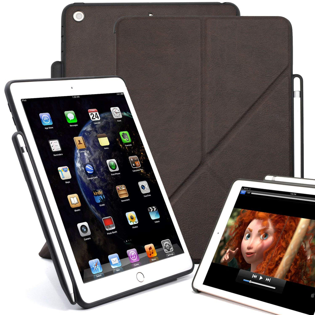 Dual Origami Case Cover For iPad 9.7 (2017 & 2018) With Pen Holder - Leather Brown