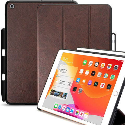 KHOMO iPad 10.2 2019 Case with Pencil Holder (7th Generation) - Dual Series - Cover - Leather Brown