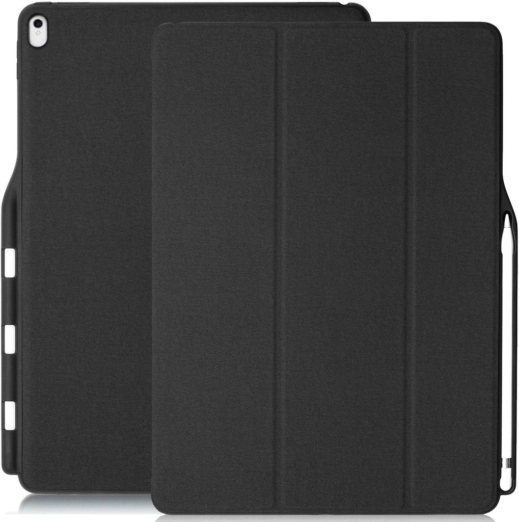 KHOMO iPad Pro 12.9 Inch Case with Pen Holder ( 1st and 2nd Gen 2016 & 2017)- Dual Super Slim Cover with Rubberized Back and Smart Feature ( Sleep / Wake ) - Black