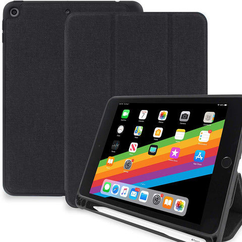 Dual Case With Pen Holder For Apple iPad Mini 5 Super Slim Rubberized Back & Smart Feature - Charcoal Black
