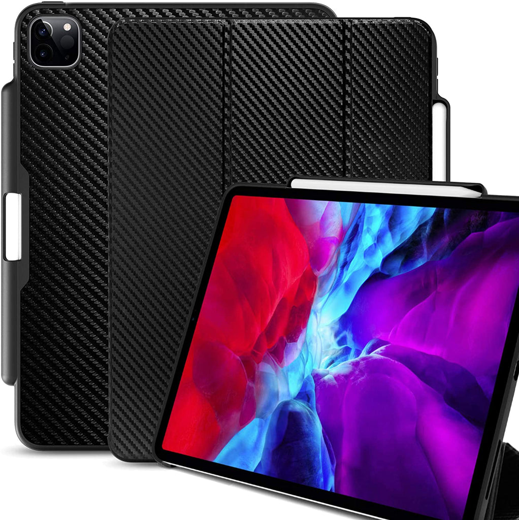 iPad Case Pro 12.9 Case 4th Generation 2020 with Pencil Holder - Dual Series - Carbon Fiber
