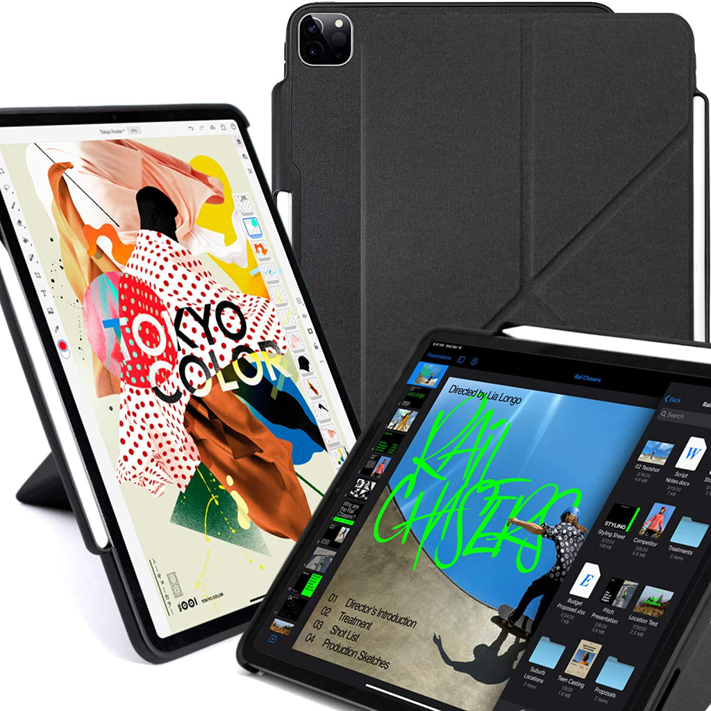 iPad Case Pro 11 Case 2nd Generation 2020 with Pencil Holder - Dual Origami Series - Charcoal Black