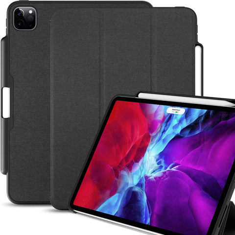 iPad Case Pro 12.9 Case 4th Generation 2020 with Pencil Holder - Dual Series - Charcoal Black