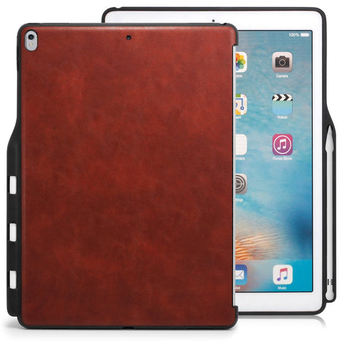 Case Cover Companion With Pen Holder For Apple iPad Pro 12.9 - Leather Brown