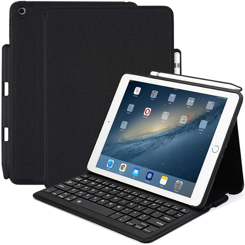 KHOMO - Apple iPad 9.7 Inch (2017 & 2018) Bluetooth Keyboard Case with Pen Holder
