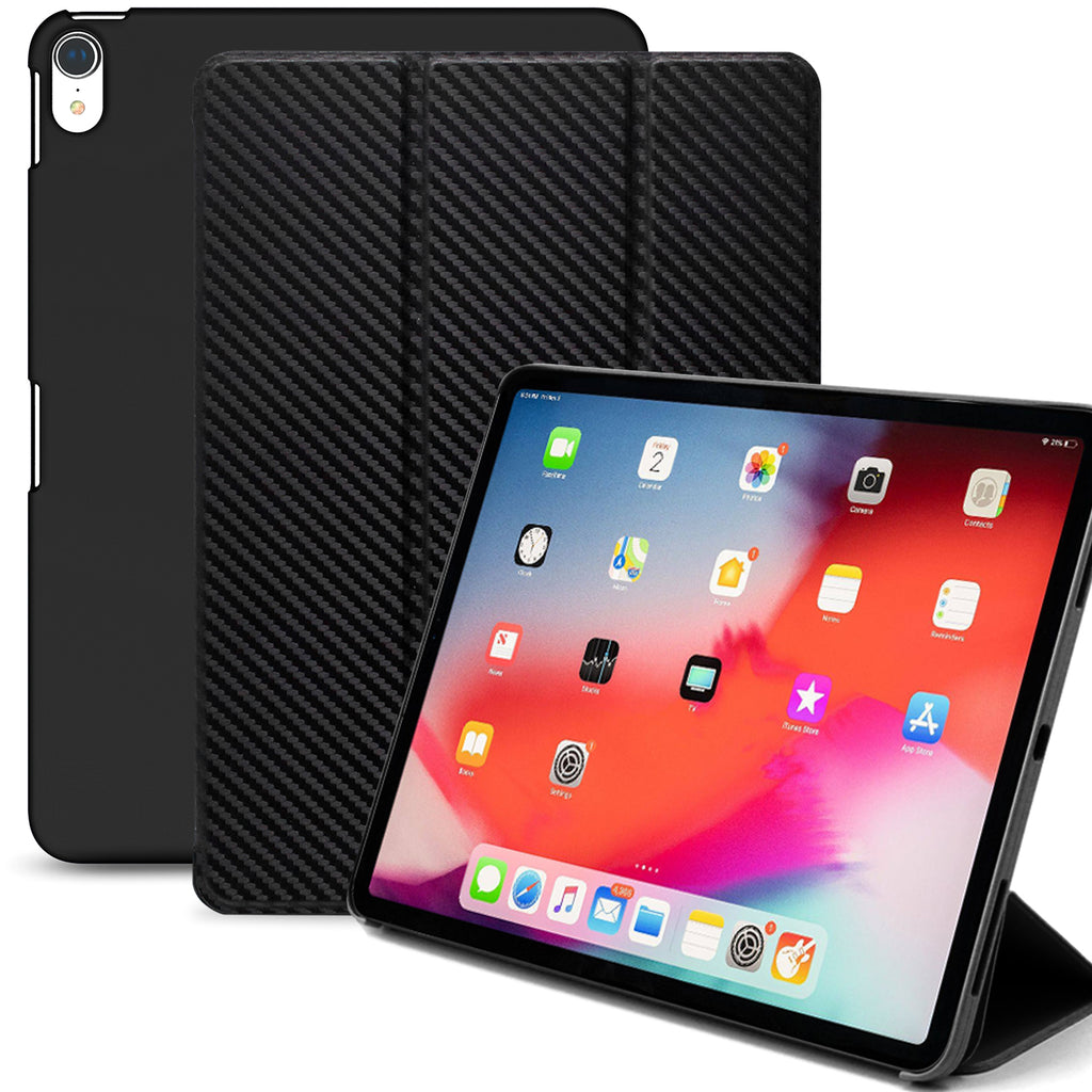 Dual Case Cover For Apple iPad Pro 11 Inch Super Slim With Rubberized Back & Smart Feature - Carbon Fiber