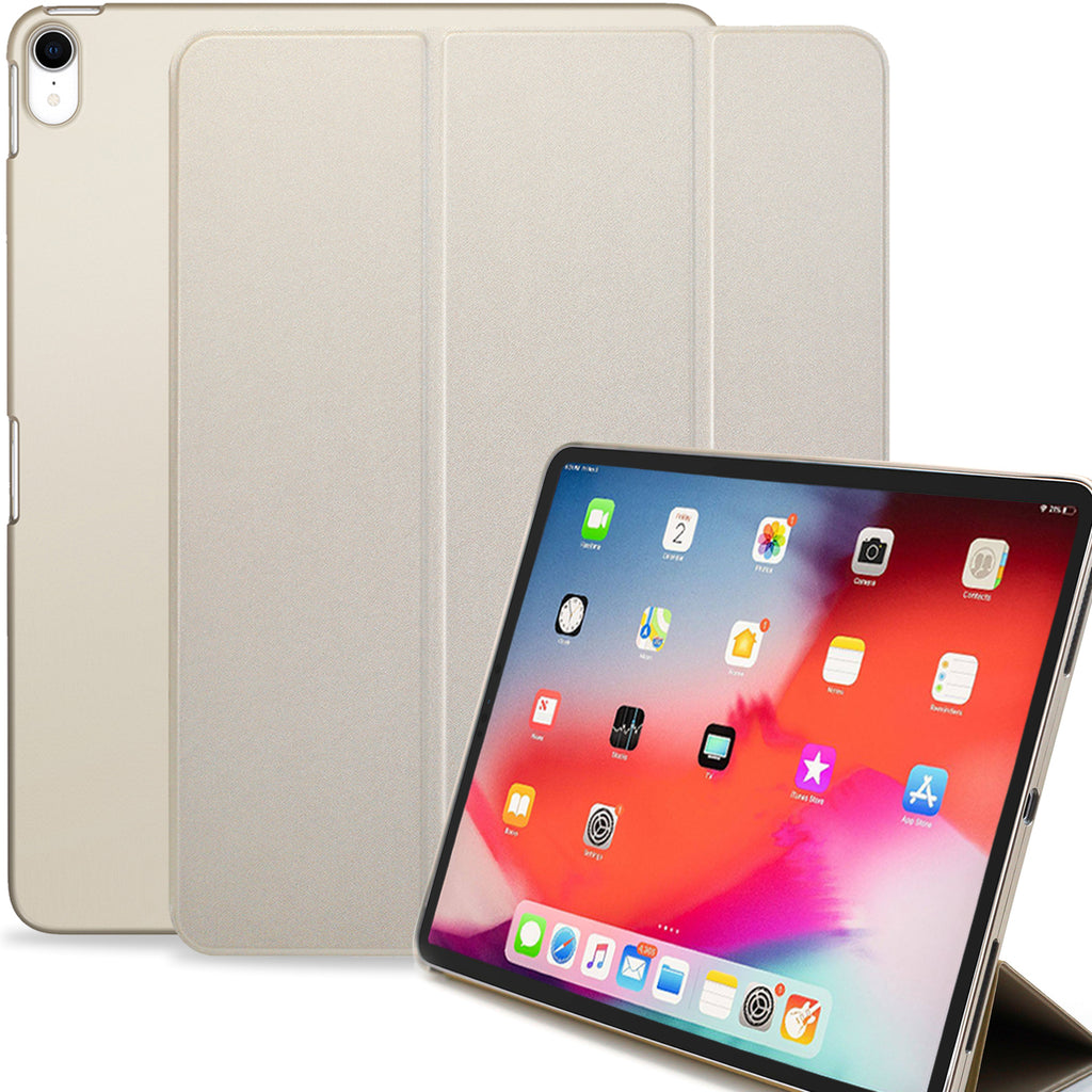 Dual Case Cover For Apple iPad Pro 12.9 Inch 3rd Generation  Super Slim With Rubberized Back & Smart Feature - Gold