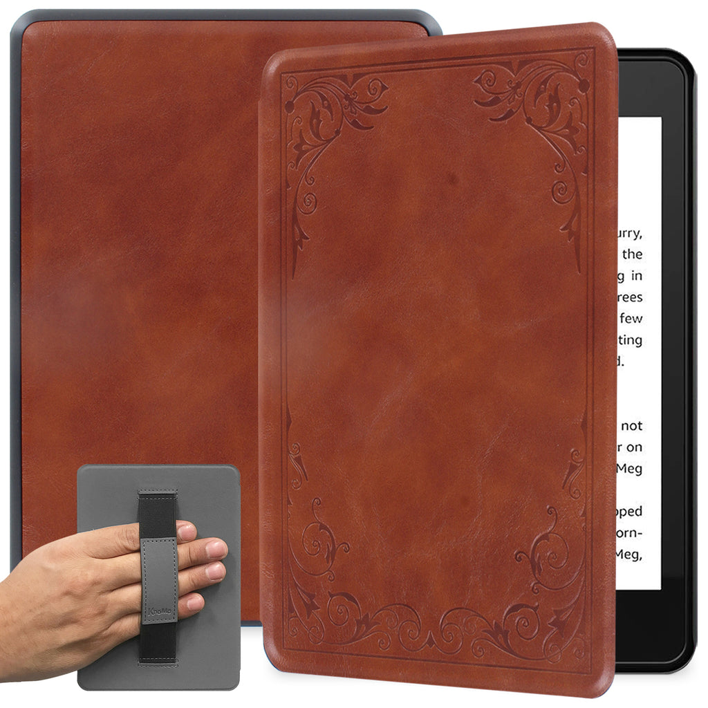 All New Kindle 2019 10th Generation Case with Hand Strap Holder - Vintage Book Style Brown