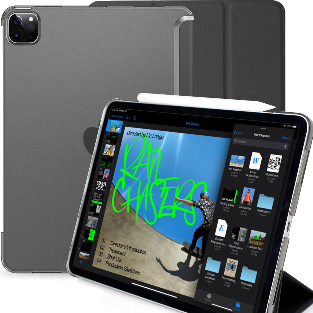 iPad Pro 11 Case 2nd Generation 2020 - Dual Hybrid See Through Series - Supports Pencil Charging - Charcoal Black