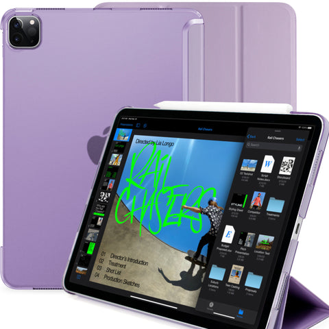 iPad Pro 11 Case 2nd Generation 2020 - Dual Hybrid See Through Series - Supports Pencil Charging - Purple