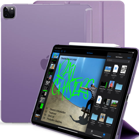 iPad Pro 12.9 Case 4th Generation 2020 - Dual Hybrid See Through Series - Supports Pencil Charging - Purple