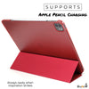 iPad Pro 12.9 Case 4th Generation 2020 - Dual Hybrid See Through Series - Supports Pencil Charging - Red