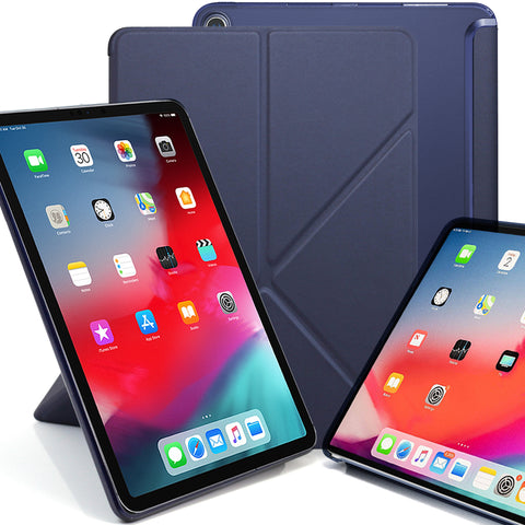 Origami Dual Case Cover For Apple iPad Pro 11 Inch See Through Horizontal & Vertical Display - Navy Blue