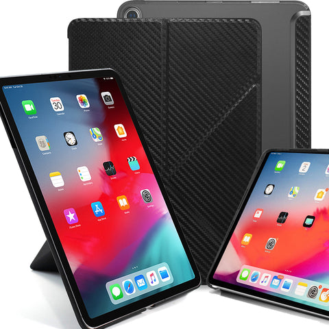 Origami Dual Case Cover For Apple iPad Pro 12.9 Inch 3rd Generation See Through Horizontal & Vertical Display - Carbon Fiber