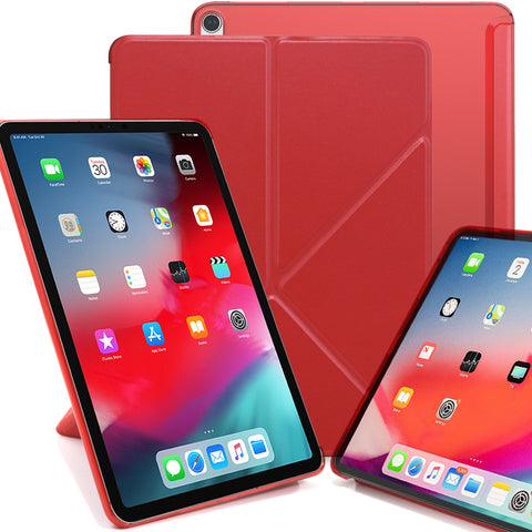Origami Dual Case Cover For Apple iPad Pro 11 Inch See Through Horizontal & Vertical Display - Red