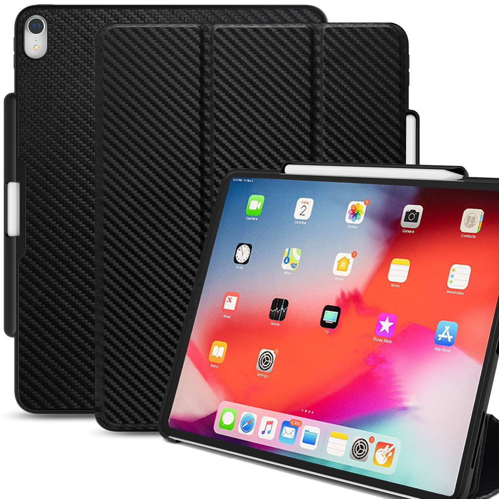 Dual Case Cover With Pen Holder For Apple iPad Pro 12.9 Inch 3rd Generation Super Slim Support Pencil Charging - Carbon Fiber