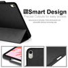 Dual Case Cover With Pen Holder For Apple iPad Pro 12.9 Inch 3rd Generation Super Slim Support Pencil Charging - Leather Black
