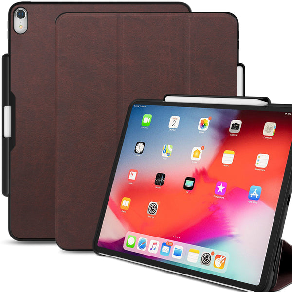 Dual Case Cover With Pen Holder For Apple iPad Pro 12.9 Inch 3rd Generation Super Slim Support Pencil Charging - Leather Brown