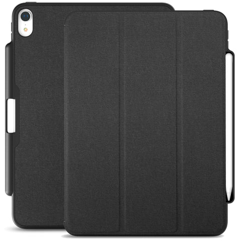 Dual Case Cover With Pen Holder For Apple iPad Pro 12.9 Inch 3rd Generation Super Slim Support Pencil Charging - Charcoal Black
