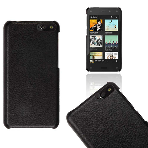 Amazon Fire Phone Case - Snap On Hard Leather Case Black