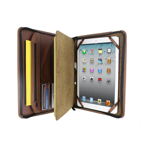 PadFolio Case With Notepad Holder and Pockets Brown For Universal Tablets 12