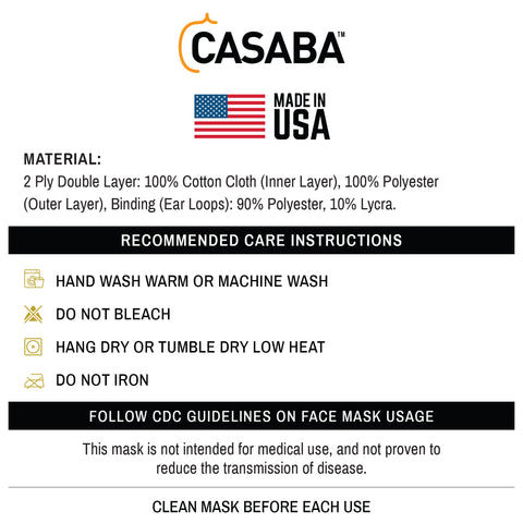 Casaba Face Masks Care Instructions