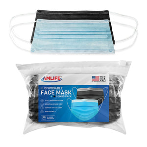 AMLIFE 50 Pack Face Masks Blue-Black Combo 3-Ply Filter - Made in USA with Imported Fabric-AMLIFE Face Masks