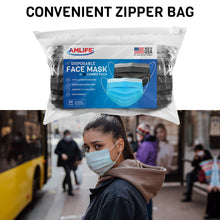 Load image into Gallery viewer, AMLIFE 50 Pack Face Masks Blue-Black Combo 3-Ply Filter - Made in USA with Imported Fabric-AMLIFE Face Masks