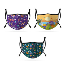 Load image into Gallery viewer, Cute Face Masks 3 / 5 Packs for Kids Child Adjustable Boys Girls Ages 3 to 9 Cotton Poly Washable Reusable 2 Layer Pocket Filter-AMLIFE Face Masks