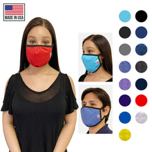 Load image into Gallery viewer, Made in USA Face Masks Mouth Nose Washable Reusable Double Layer Mask Cotton Cloth Blend-Face Mask Pack-Casaba-Black-CSB-TRI-FM-BLACK
