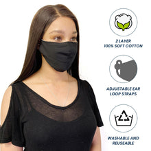 Load image into Gallery viewer, Cotton Face Mask Cloth Masks Pack for Mouth Nose Washable Reusable Double Layer Adjustable Ear Unisex-AMLIFE Face Masks