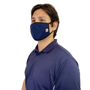 Made in USA Face Masks Mouth Nose Washable Reusable Double Layer Mask Cotton Cloth Blend-Face Mask Pack-Casaba-Navy-CSB-TRI-FM-NAVY