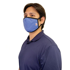 Made in USA Face Masks Mouth Nose Washable Reusable Double Layer Mask Cotton Cloth Blend-Face Mask Pack-Casaba-Dark Blue-CSB-TRI-FM-DARK BLUE