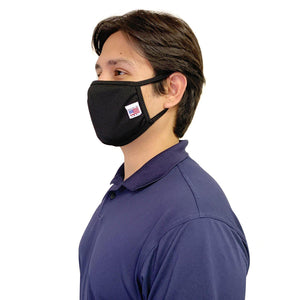 Made in USA Face Masks Mouth Nose Washable Reusable Double Layer Mask Cotton Cloth Blend-Face Mask Pack-Casaba-Black-CSB-TRI-FM-BLACK