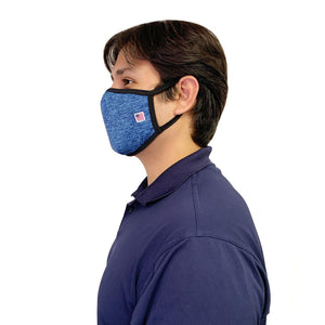 Made in USA Face Masks Mouth Nose Washable Reusable Double Layer Mask Cotton Cloth Blend-Face Mask Pack-Casaba-Heather Blue/Black-CSB-TRI-FM-HEATHER BLUE/BLK