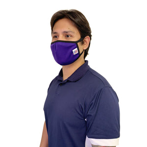 Made in USA Face Masks Mouth Nose Washable Reusable Double Layer Mask Cotton Cloth Blend-Face Mask Pack-Casaba-Purple-CSB-TRI-FM-PURPLE