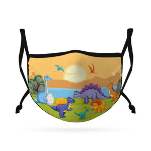 Cute Face Masks for Kids Child Adjustable Boys Girls Ages 3 to 9 Cotton Poly Washable Reusable 2 Layer Pocket Filter-Face Mask Pack-Casaba-Dinosaur Paradise-CSB-KIDSFM-DINO PARADISE