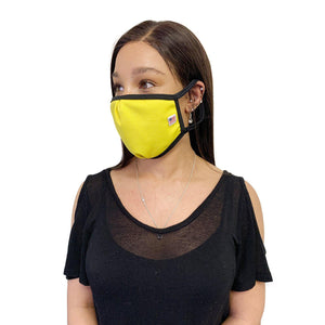 Made in USA Face Masks Mouth Nose Washable Reusable Double Layer Mask Cotton Cloth Blend-Face Mask Pack-Casaba-Yellow-CSB-TRI-FM-YELLOW