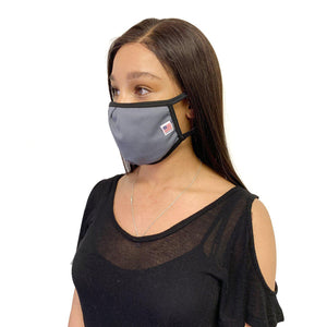 Made in USA Face Masks Mouth Nose Washable Reusable Double Layer Mask Cotton Cloth Blend-Face Mask Pack-Casaba-Grey-CSB-TRI-FM-GREY